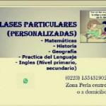 Clases Particulares Personalizadas en Mar del Plata, Pcia. Buenos Aires (Costa Atlántica)